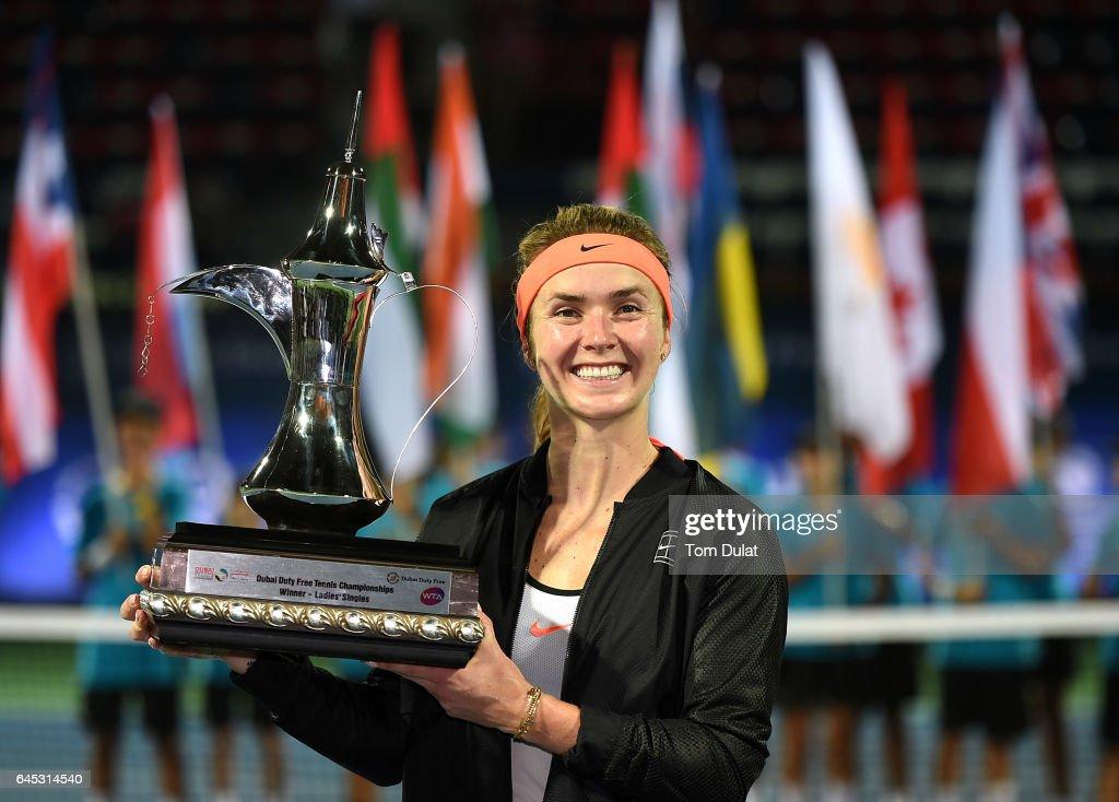 Elina Svitolina of Ukraine poses with the trophy after winning the final match against Caroline Woznacki of Denmark on day seven of the WTA Dubai Duty Free Tennis Championship at the Dubai Tennis Stadium on February 25, 2017 in Dubai, United Arab Emirates.