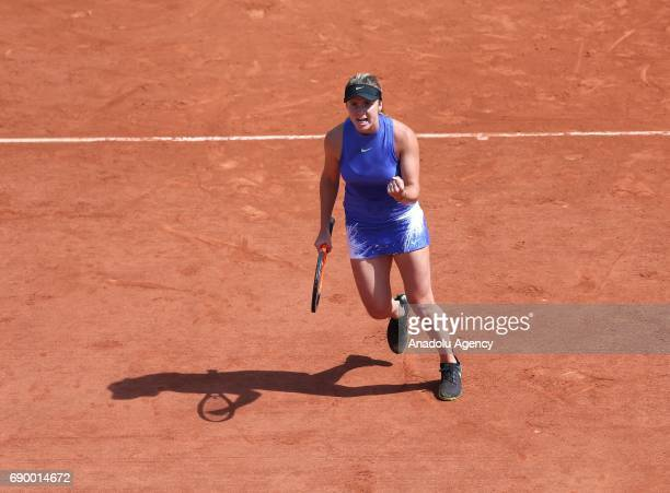 Elina Svitolina of Ukraine reacts after the match against Yaroslava Shvedova of Kazakhstan during their first round match of the French Open tennis...