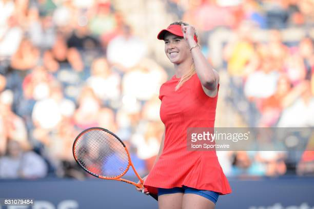 Elina Svitolina of Ukraine reacts after winning her semifinals match of the 2017 Rogers Cup tennis tournament on August 12 at Aviva Centre in Toronto...