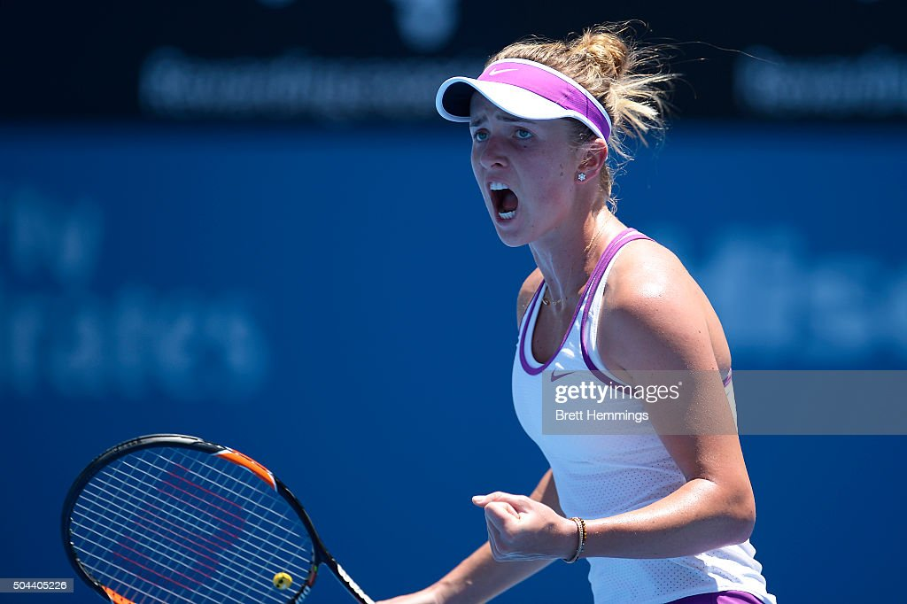 <a gi-track='captionPersonalityLinkClicked' href=/galleries/search?phrase=Elina+Svitolina&family=editorial&specificpeople=7026504 ng-click='$event.stopPropagation()'>Elina Svitolina</a> of Ukraine reacts after winning the first set during day two of the 2016 Sydney International at Sydney Olympic Park Tennis Centre on January 11, 2016 in Sydney, Australia.