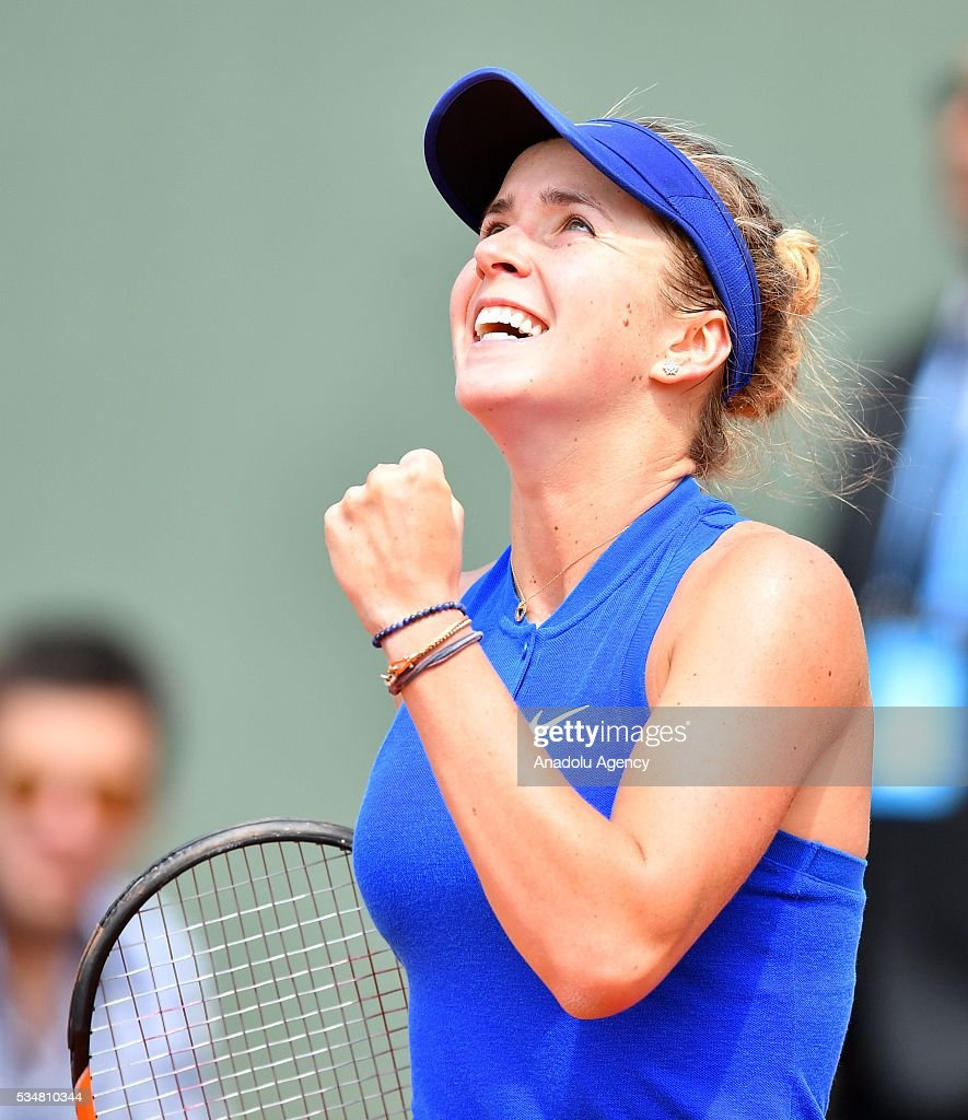 Elina Svitolina of Ukraine reacts after winning the women's single third round match against Ana Ivanovic (not seen) of Serbia at the French Open tennis tournament at Roland Garros Stadium in Paris, France on May 28, 2016.