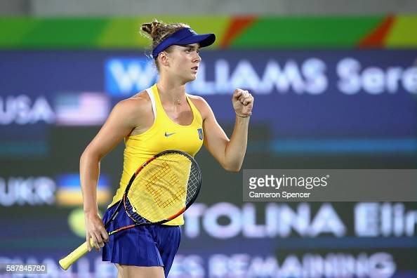 Elina Svitolina of Ukraine reacts during a Women's Singles Third Round match against Serena Williams of the United States on Day 4 of the Rio 2016...