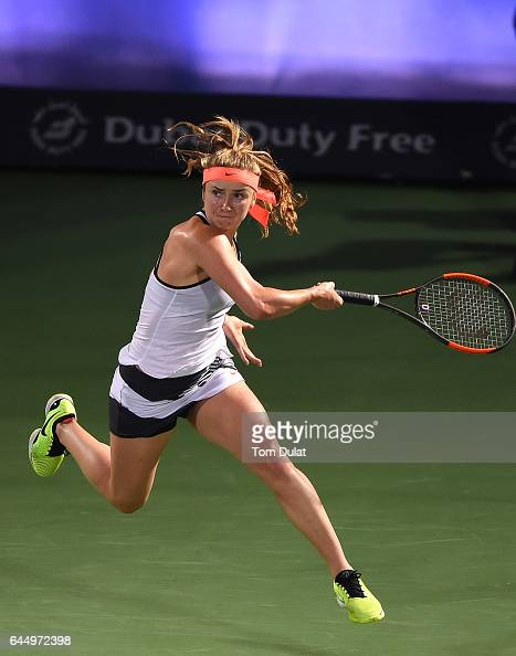 Elina Svitolina of Ukraine returns a shot during her semi final match against Angelique Kerber of Germany on day six of the WTA Dubai Duty Free...