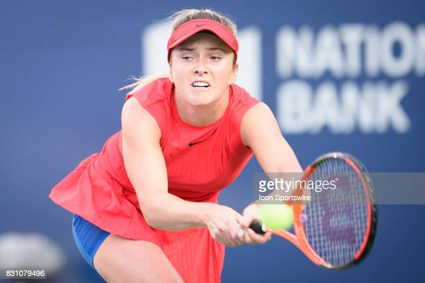 Elina Svitolina of Ukraine returns the ball during her semifinals match of the 2017 Rogers Cup tennis tournament on August 12 at Aviva Centre in...