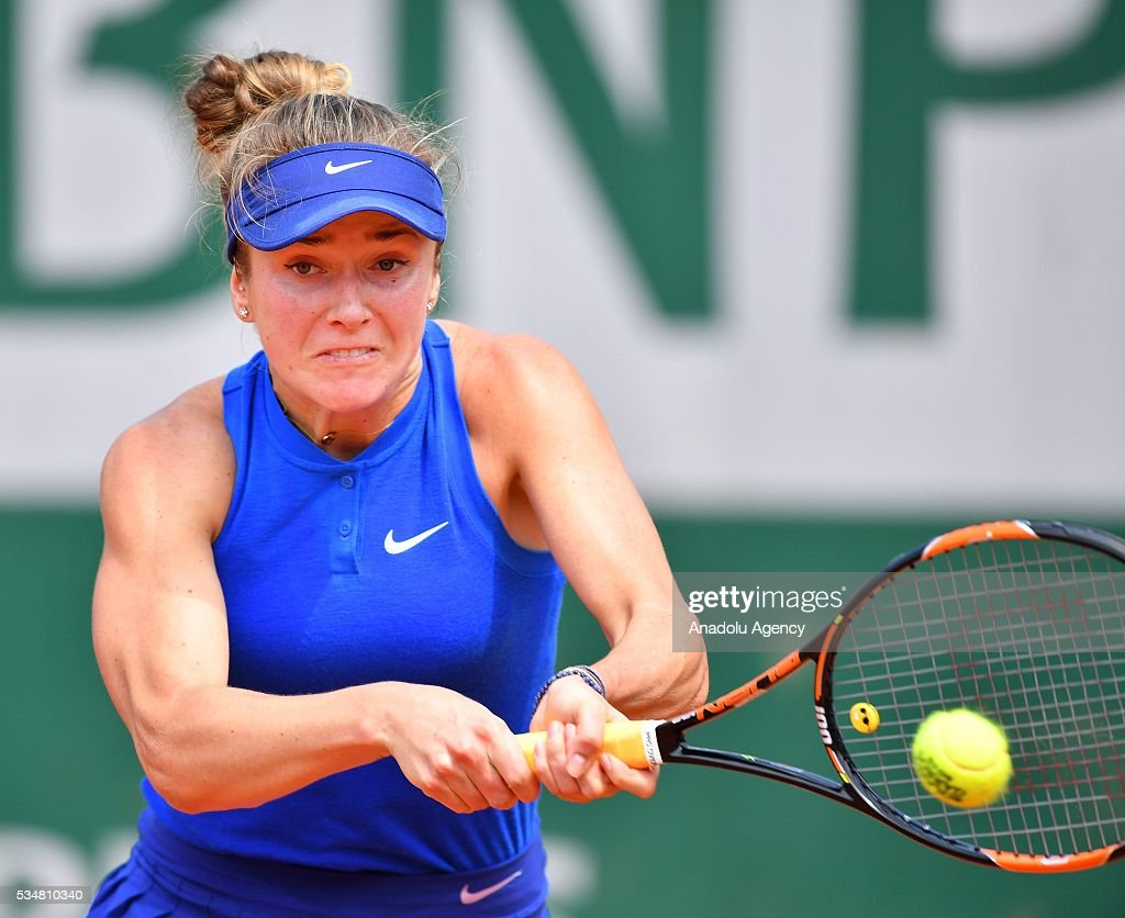 Elina Svitolina of Ukraine returns to Ana Ivanovic (not seen) of Serbia during the women's single third round match at the French Open tennis tournament at Roland Garros Stadium in Paris, France on May 28, 2016.