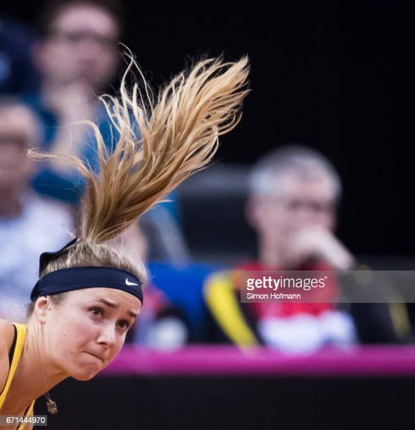 Elina Svitolina of Ukraine serves against Julia Goerges of Germany during the FedCup World Group PlayOff Match between Germany and Ukraine at Porsche...