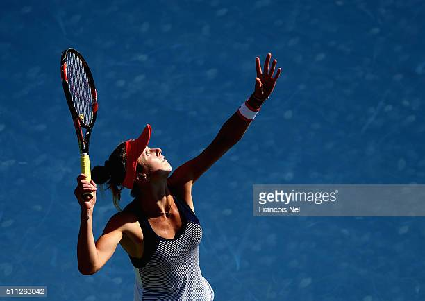 Elina Svitolina of Ukraine serves against Sara Errani of Italy during their women's semi final match of the WTA Dubai Duty Free Tennis Championship...