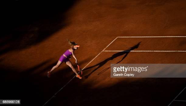 Elina Svitolina of Ukraine serves during her semi final match against Garbine Muguruza of Spain in The Internazionali BNL d'Italia 2017 at Foro...