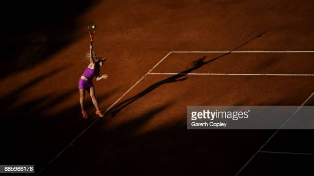 Elina Svitolina of Ukraine serves during her semi final match against Garbine Muguruza of Spain in The Internazionali BNL d'Italia 2017 at Foro...