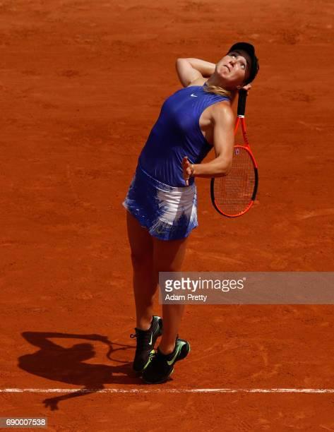 Elina Svitolina of Ukraine serves during the ladies singles first round match against Yaroslava Shvedova of Kazakhstan on day three of the 2017...