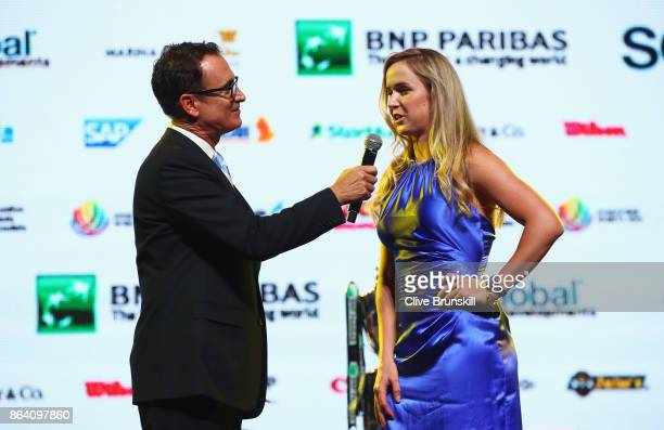 Elina Svitolina of Ukraine talks with Andrew Krasny during the Official Draw Ceremony and Gala of the BNP Paribas WTA Finals Singapore presented by...