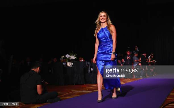 Elina Svitolina of Ukraine walks in to the the Official Draw Ceremony and Gala of the BNP Paribas WTA Finals Singapore presented by SC Global at...