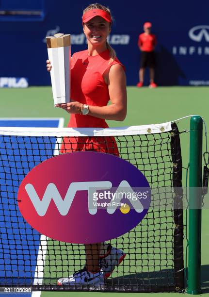 Elina Svitolina of Ukraine with the winners trophy after defeating Caroline Wozniacki of Denmark following the final match on Day 9 of the Rogers Cup...