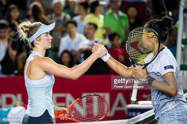 Elina Svitolina shake hands with Zarina Diyas during the Prudential Hong Kong Tennis Open 2017 match between Elina Svitolina of Ukraine and Zarina...