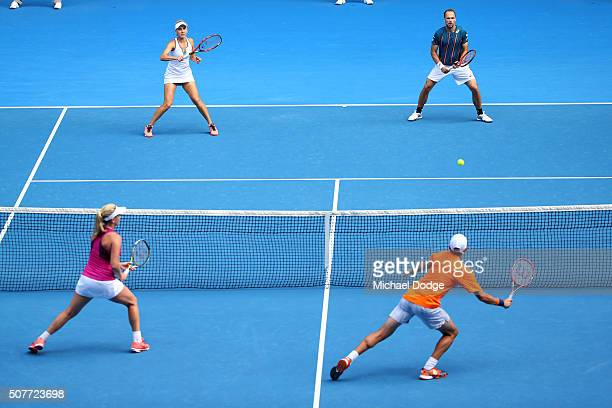 Elina Vesina of Russia and Brunos Soares of Brazil compete in the Mixed Doubles Final match against Coco Vanderweghe of the United States and Horia...