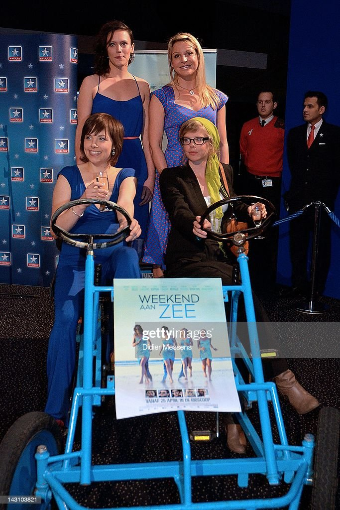 Eline Kuppens, Maaike Neuville, Marieke Dilles and Ellen Schoeters attend the Antwerp premiere of 'Weekend At The Sea' (Weekend Aan Zee) at Metropolis on April 18, 2012 in Antwerpen, Belgium.