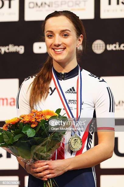 Elinor Barker of Great Britain celebrates her gold medal after she wins the Women's Points Race Final during the Tissot UCI Track Cycling World Cup...