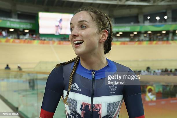 Elinor Barker of Great Britain celebrates winning the gold medal after the Women's Team Pursuit Final for the Gold medal on Day 8 of the Rio 2016...