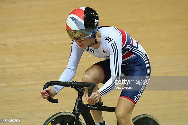 Elinor Barker of Great Britain Cycling Team competes in the Women's Scratch Race Final on day four of the UCI Track Cycling World Championships at...