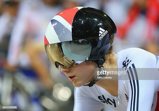 Elinor Barker of Great Britain Cycling Team waits to start in the Women's Scratch Race Final on day four of the UCI Track Cycling World Championships...