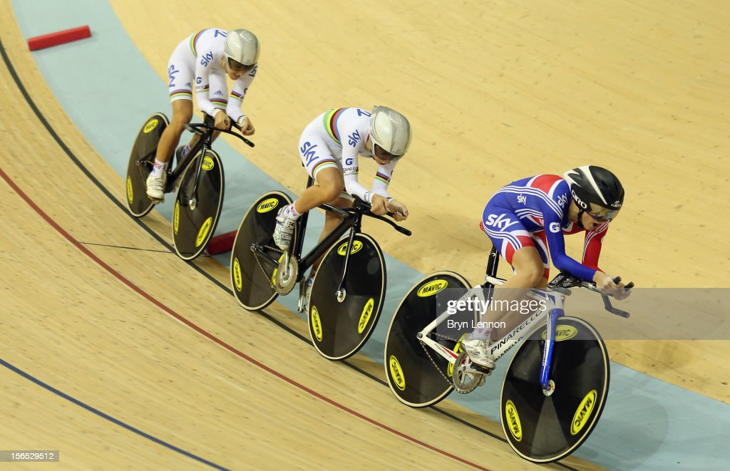 Elinor Barker of Great Britain leads team mates <a gi-track='captionPersonalityLinkClicked' href=/galleries/search?phrase=Laura+Trott&family=editorial&specificpeople=7205074 ng-click='$event.stopPropagation()'>Laura Trott</a> and <a gi-track='captionPersonalityLinkClicked' href=/galleries/search?phrase=Dani+King+-+Cyclist&family=editorial&specificpeople=7505449 ng-click='$event.stopPropagation()'>Dani King</a> in the Women's Team Pursuit final the during day one of the UCI Track Cycling World Cup at the Sir Chris Hoy Velodrome on November 16, 2012 in Glasgow, Scotland.