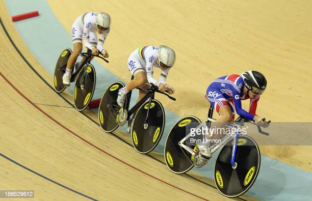 Elinor Barker of Great Britain leads team mates Laura Trott and Dani King in the Women's Team Pursuit final the during day one of the UCI Track...