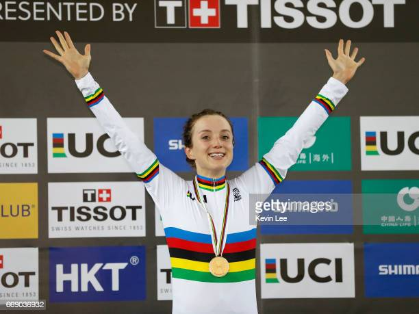 Elinor Barker of Great Britain poses with her gold medal after winning Women's Point Race Final on Day 5 in 2017 UCI Track Cycling World...