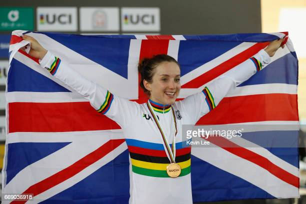 Elinor Barker of Great Britain poses with national flag after winning Women's Point Race Final on Day 5 in 2017 UCI Track Cycling World Championships...