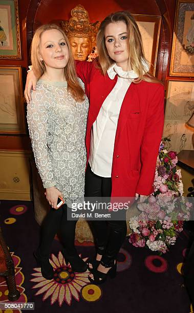 Elinor Fresson and Bea Fresson attend a VIP dinner celebrating the launch of Mrs Alice for French Sole at Annabel's on February 2 2016 in London...