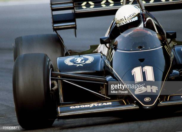 Elio de Angelis of Italy drives the John Player Team Lotus Lotus 95T Renault V6 turbo during the BritishGrand Prix on 22 July 1984 at the Brands...