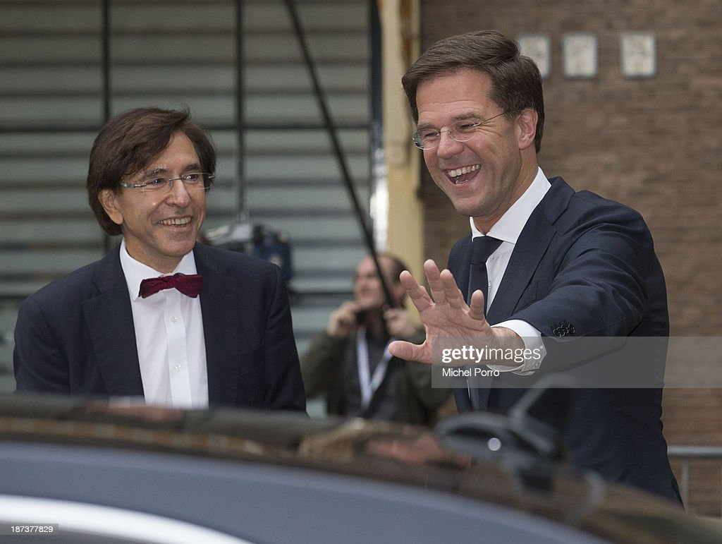 Elio di Rupo and <a gi-track='captionPersonalityLinkClicked' href=/galleries/search?phrase=Mark+Rutte&family=editorial&specificpeople=4509362 ng-click='$event.stopPropagation()'>Mark Rutte</a> seen during an official visit of King Philippe and Queen Mathilde to The Netherlands on November 8, 2013 in The Hague, Netherlands.