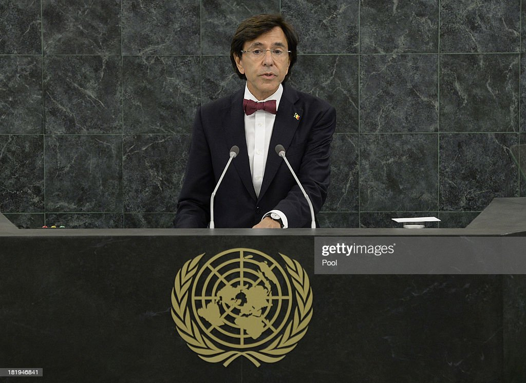 <a gi-track='captionPersonalityLinkClicked' href=/galleries/search?phrase=Elio+Di+Rupo&family=editorial&specificpeople=743705 ng-click='$event.stopPropagation()'>Elio Di Rupo</a>, Prime Minister of Belgium, addresses the 68th United Nations General Assembly at U.N. headquarters on September 26, 2013 in New York City. Over 120 prime ministers, presidents and monarchs are gathering this week for the annual meeting at the temporary General Assembly Hall at the U.N. headquarters while the General Assembly Building is closed for renovations.