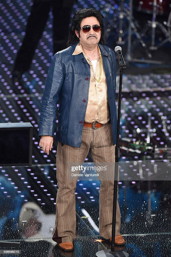 Elio e le Storie Tese attend the third night of the 66th Festival di Sanremo 2016 at Teatro Ariston on February 11, 2016 in Sanremo, Italy.