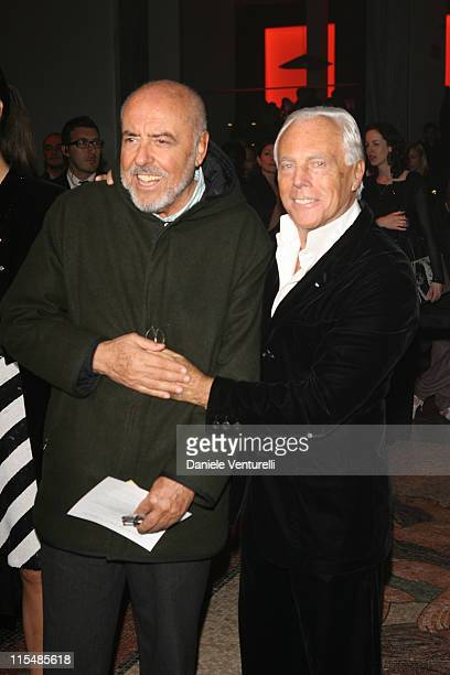 Elio Fiorucci and Giorgio Armani during Milan Fashion Week Fall/Winter 2007 Armani After Party in Milan Italy