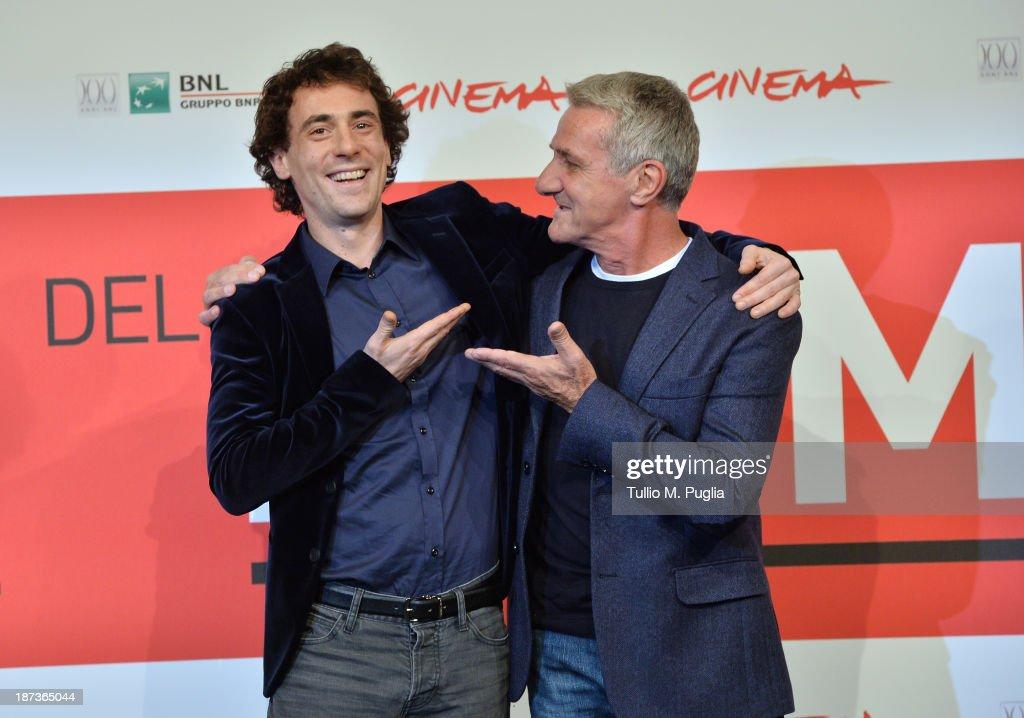 Elio Germano and Ernesto Fioretti attend the 'L'Ultima Ruota Del Carro' Photocall during the 8th Rome Film Festival at the Auditorium Parco Della...