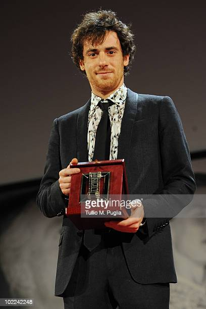 Elio Germano poses with the award for Best Actor during the Nastri d'Argento ceremony awards on June 19 2010 in Taormina Italy
