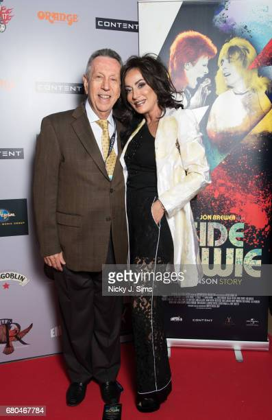 Eliot M Cohen and Nancy Dell'Olio attend the UK Premiere of Jon Brewer's 'BESIDE BOWIE The Mick Ronson Story' at The Mayfair Hotel on May 08 2017 in...