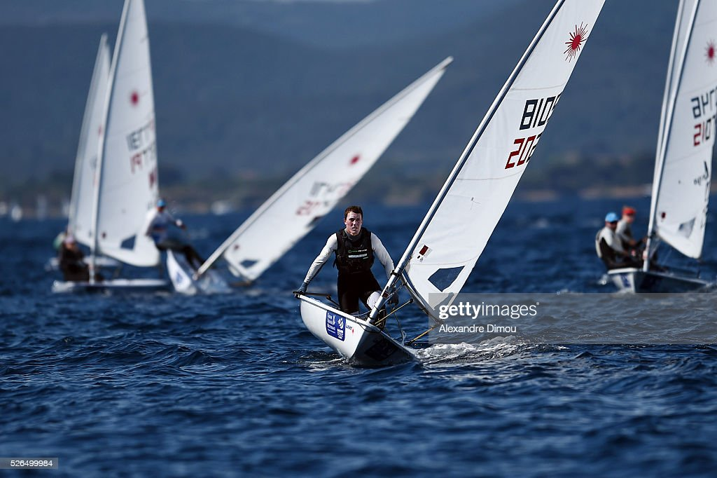 Eliot Merceron of France competes in the race boat laser during the Sailing World Cup on April 30, 2016 in Hyeres, France.