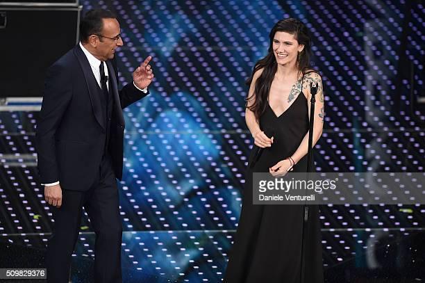 Elisa and Carlo Conti attend the fourth night of the 66th Festival di Sanremo 2016 at Teatro Ariston on February 12 2016 in Sanremo Italy