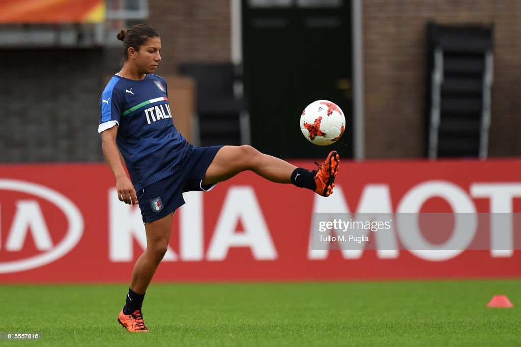 Elisa Bartoli of Italy women's national team takes part in a training session during the UEFA Women's EURO 2017at Sparta Stadion Het Kasteel on July 16, 2017 in Rotterdam, Netherlands.