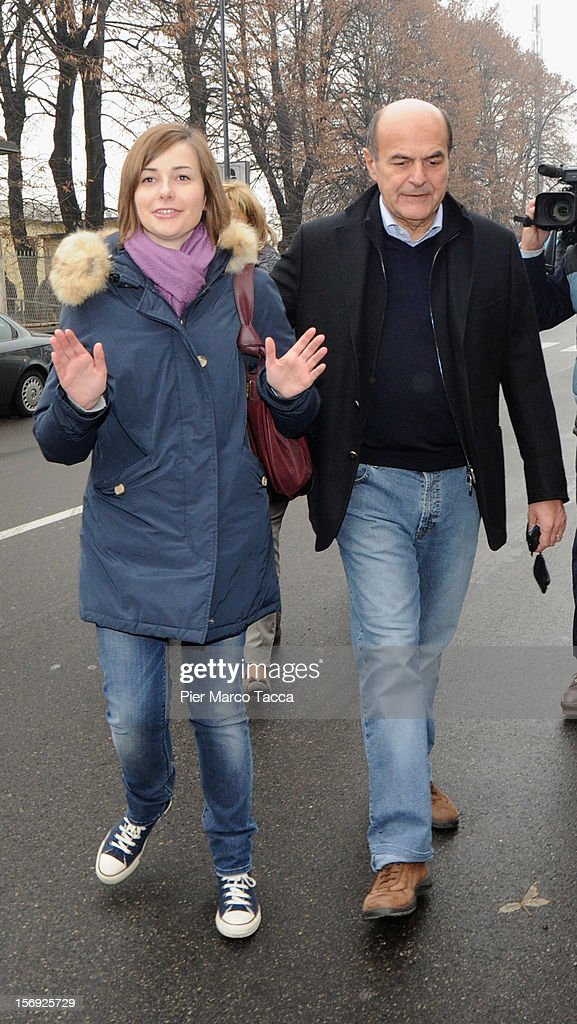 Elisa Bersani and Pier Luigi Bersani attends to vote at the PD Primary Elections on November 25 2012 in Milan ItalyItaly Italian centreleft...