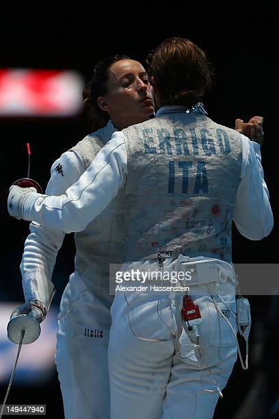 Elisa Di Francisca of Italy celebrates winning the gold medal in her Women's Foil Individual Fencing Final match against Arianna Errigo of Italy on...