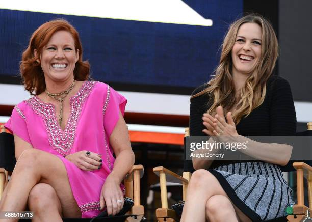 Elisa Donovan and Alicia Silverstone attend the Film Independent's prefestival outdoor screening of 'Clueless' at LA LIVE on May 6 2014 in Los...