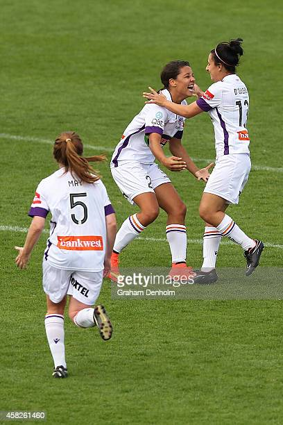 Elisa D'Ovidio of the Glory celebrates her goal with teammate Samantha Kerr during the round eight WLeague match between Melbourne and Perth at...