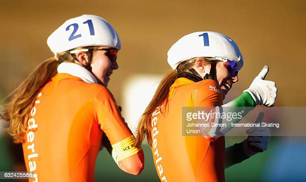 Elisa Dul and Sanne in 't Hofof the Netherlands celebrate after winning the women's junior mass start draw for the ISU junior world cup speed skating...