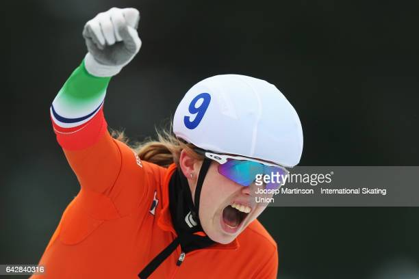 Elisa Dul of Netherlands celebrates in the ladies mass start during day three of the World Junior Speed Skating Championships at Oulunkyla Sports...