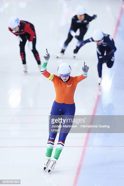 Elisa Dul of Netherlands celebrates winning the Ladies Mass Start during day two of ISU Junior World Cup Speed Skating at Minsk Arena on November 27...