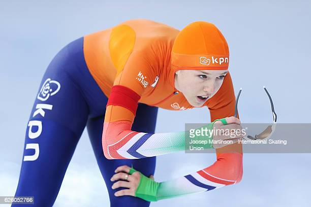 Elisa Dul of Netherlands competes in Ladies 500m during day two of ISU Junior World Cup Speed Skating at Minsk Russia