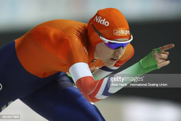 Elisa Dul of Netherlands competes in the Ladies Jun 1000m race during the ISU Junior World Cup Speed Skating Day 2 at the Gunda Niemann Stirnemann...