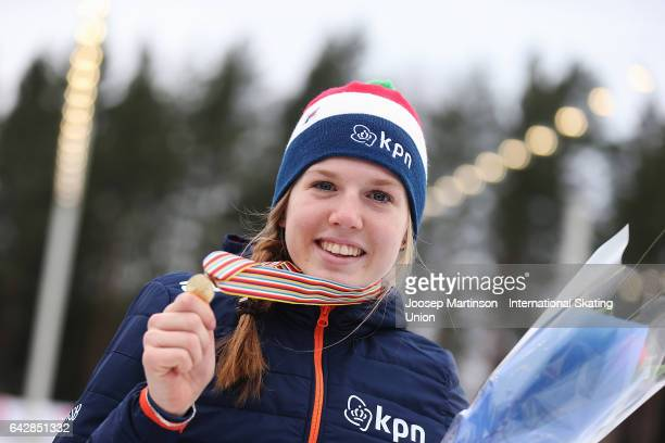 Elisa Dul of Netherlands poses in the ladies mass start medal ceremony during day three of the World Junior Speed Skating Championships at Oulunkyla...